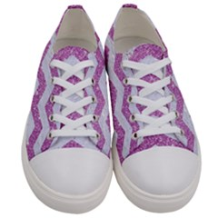 Chevron3 White Marble & Purple Glitter Women s Low Top Canvas Sneakers