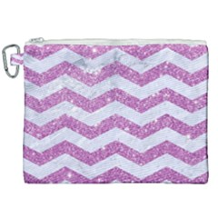 Chevron3 White Marble & Purple Glitter Canvas Cosmetic Bag (xxl) by trendistuff