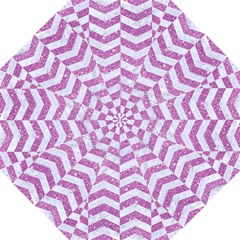 Chevron2 White Marble & Purple Glitter Folding Umbrellas