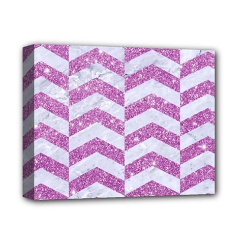 Chevron2 White Marble & Purple Glitter Deluxe Canvas 14  X 11