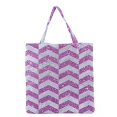 Chevron2 White Marble & Purple Glitter Grocery Tote Bag