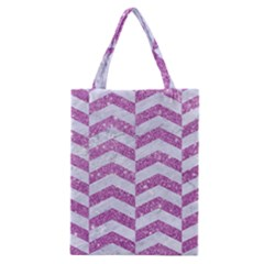 Chevron2 White Marble & Purple Glitter Classic Tote Bag