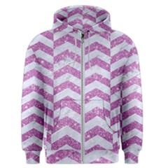 Chevron2 White Marble & Purple Glitter Men s Zipper Hoodie