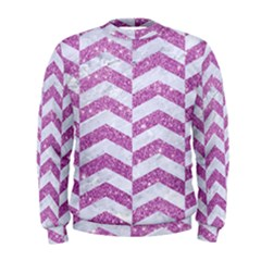 Chevron2 White Marble & Purple Glitter Men s Sweatshirt