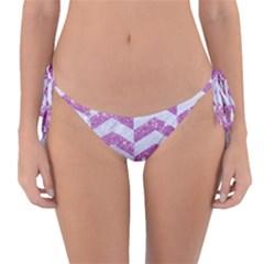Chevron2 White Marble & Purple Glitter Reversible Bikini Bottom