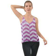Chevron2 White Marble & Purple Glitter Cami