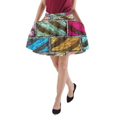 Colorful Painted Bricks Street Art Kits Art A Line Pocket Skirt by Costasonlineshop