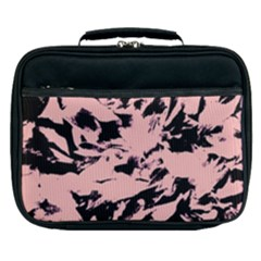 Old Rose Black Abstract Military Camouflage Lunch Bag by Costasonlineshop