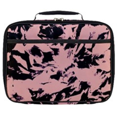Old Rose Black Abstract Military Camouflage Full Print Lunch Bag by Costasonlineshop