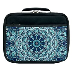 Green Blue Black Mandala  Psychedelic Pattern Lunch Bag by Costasonlineshop
