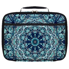 Green Blue Black Mandala  Psychedelic Pattern Full Print Lunch Bag by Costasonlineshop