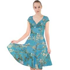 Almond Blossom  Cap Sleeve Front Wrap Midi Dress