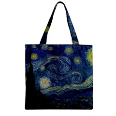 The Starry Night  Zipper Grocery Tote Bag