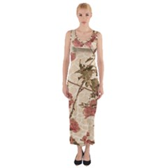 Textured Vintage Floral Design Fitted Maxi Dress