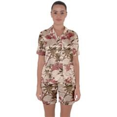 Textured Vintage Floral Design Satin Short Sleeve Pyjamas Set
