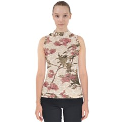 Textured Vintage Floral Design Shell Top