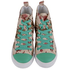 Textured Vintage Floral Design Women s Mid Top Canvas Sneakers