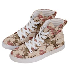 Textured Vintage Floral Design Men s Hi Top Skate Sneakers by dflcprints