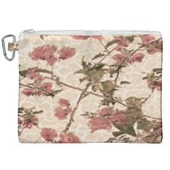 Textured Vintage Floral Design Canvas Cosmetic Bag (xxl) by dflcprints