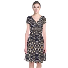 Wonderful Fantasy Pearl Flowers Landscape Short Sleeve Front Wrap Dress