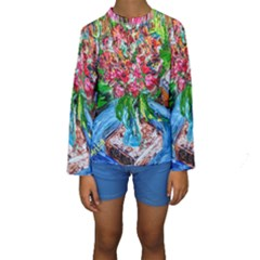Paint, Flowers And Book Kids  Long Sleeve Swimwear