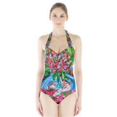 Paint, Flowers And Book Halter Swimsuit