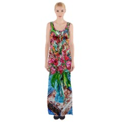 Paint, Flowers And Book Maxi Thigh Split Dress