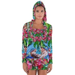 Paint, Flowers And Book Long Sleeve Hooded T Shirt