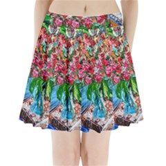Paint, Flowers And Book Pleated Mini Skirt