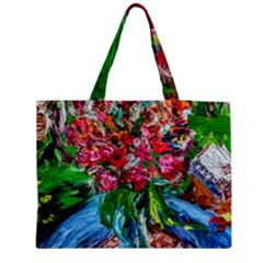 Paint, Flowers And Book Zipper Medium Tote Bag