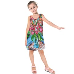 Paint, Flowers And Book Kids  Sleeveless Dress