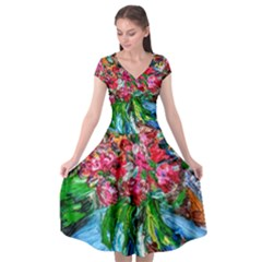 Paint, Flowers And Book Cap Sleeve Wrap Front Dress