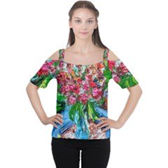 Paint, Flowers And Book Cutout Shoulder Tee