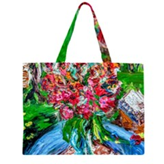 Paint, Flowers And Book Zipper Large Tote Bag