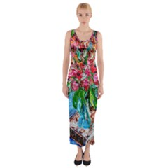Paint, Flowers And Book Fitted Maxi Dress