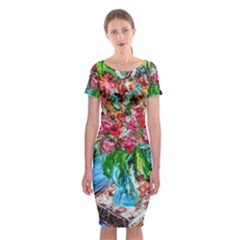 Paint, Flowers And Book Classic Short Sleeve Midi Dress
