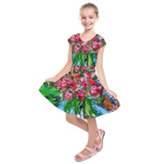 Paint, Flowers And Book Kids  Short Sleeve Dress