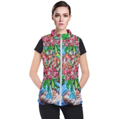 Paint, Flowers And Book Women s Puffer Vest