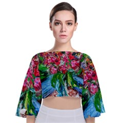 Paint, Flowers And Book Tie Back Butterfly Sleeve Chiffon Top