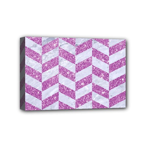 Chevron1 White Marble & Purple Glitter Mini Canvas 6  X 4