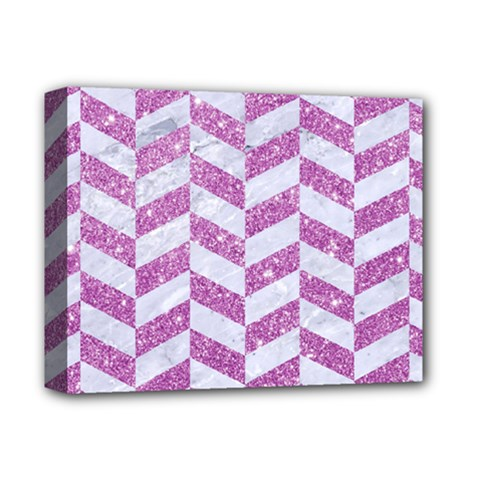 Chevron1 White Marble & Purple Glitter Deluxe Canvas 14  X 11  by trendistuff
