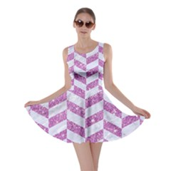Chevron1 White Marble & Purple Glitter Skater Dress