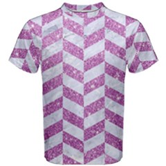 Chevron1 White Marble & Purple Glitter Men s Cotton Tee