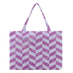 Chevron1 White Marble & Purple Glitter Medium Tote Bag