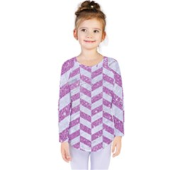 Chevron1 White Marble & Purple Glitter Kids  Long Sleeve Tee