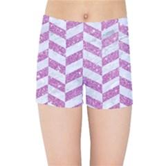 Chevron1 White Marble & Purple Glitter Kids Sports Shorts