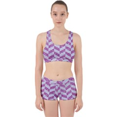 Chevron1 White Marble & Purple Glitter Work It Out Gym Set