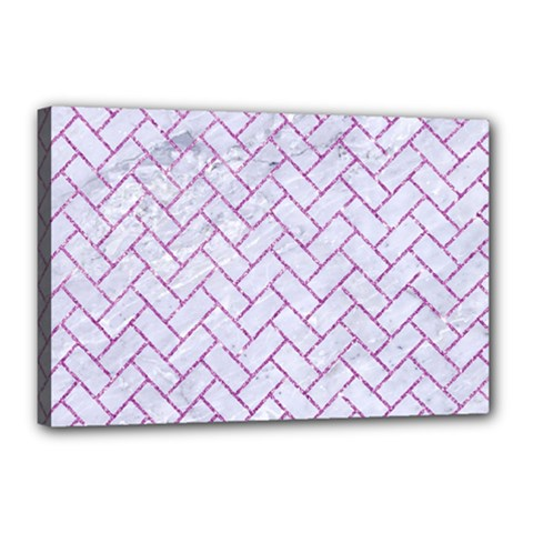 Brick2 White Marble & Purple Glitter (r) Canvas 18  X 12