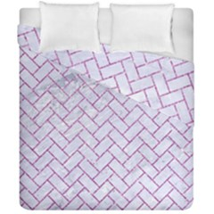 Brick2 White Marble & Purple Glitter (r) Duvet Cover Double Side (california King Size) by trendistuff