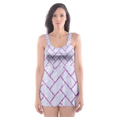Brick2 White Marble & Purple Glitter (r) Skater Dress Swimsuit